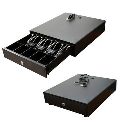 Cash Drawer Box Works Compatible Epson 4Bill&5Coin Tray Star POS Printers Black