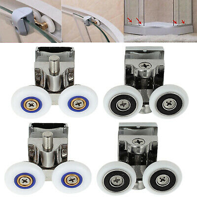 4PCS Heavy Duty Zinc Alloy Twin Top Bottom Shower Door Wheels Rollers Runners UK