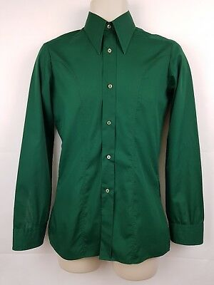 "Vtg 1970s Long Sleeve Green French Trim Polycotton Shirt Mod Disco -14""/XS- EX16"