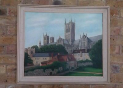 Large Original Oil Painting of Lincoln Cathedral Signed by Artist Richard Riley