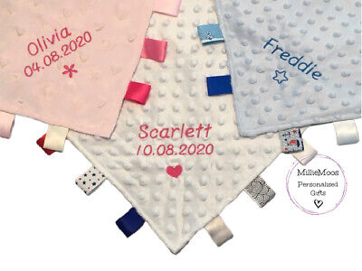 Personalised Soft Baby Taggy Blanket Comforter Baby Boy/Girl Gift - 5 Designs