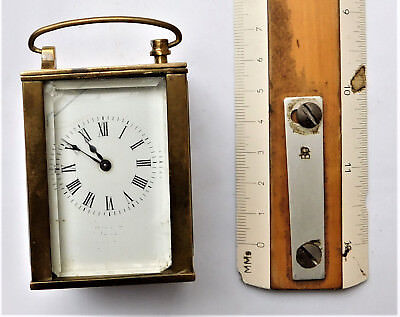 NO RESERVE Working Miniature Brass Cased Carriage Clock Vintage Antique