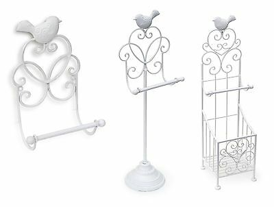 Stand & Wall Metallic Vintage Shabby Chic Toilet Paper Holder Roll Dispenser