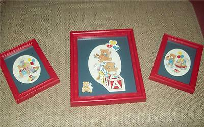 3 Red Framed Prints Bears, Balloons, Blocks, Bunnies Primary Colors Euc