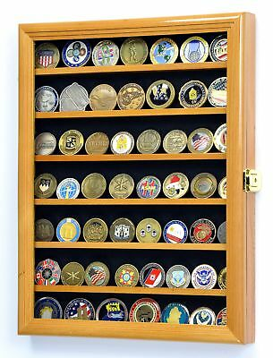 Military Challenge Coin Display Case Cabinet Wall Rack Lockable Latches Oak