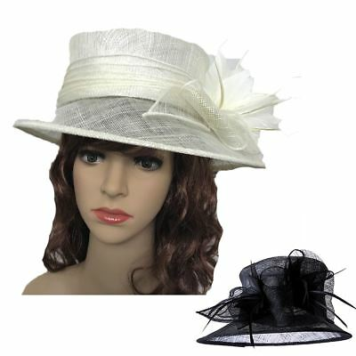 Womens Large Elegant Sinamay Hat Fascinator Weddings Ladies Day Race Royal Ascot