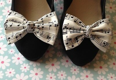 NEW WHITE BLACK MUSIC MUSICAL NOTE PRINT COTTON BOW SHOE CLIPS VINTAGE 50s RETRO