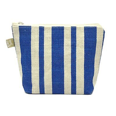 Pouch Bag By Off-White Jute Fabric With Blue Stripes Printed & A Zipper Closure