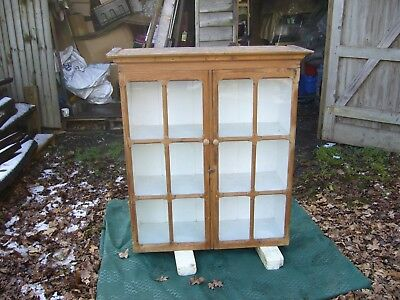 Vintage Old Pine Display Cupboard With Glass Glazed Doors