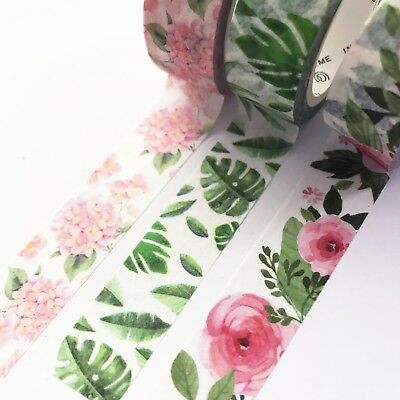 Tropical Foliage & Pretty Floral 15mm x 7m Paper Washi Masking Tape Stationery