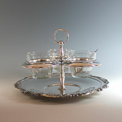 Vintage Silver Plate Round Condiment Set with Glass Inserts and Spoons
