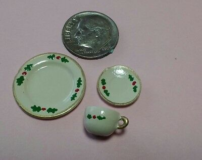 Dollhouse Miniature Hand painted 3 piece Christmas Holly dish set. 1:12 scale