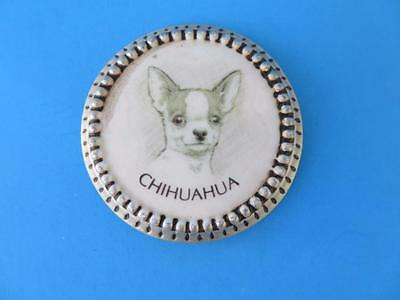 """Adorable Chihuahua Round Ceramic  Magnet With Intricate Metal Frame  1 7/8"""""""