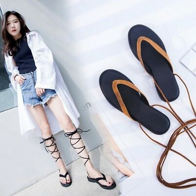 b9246c585bc6 Womens Ladies Fashion Boho Suede Leather Gladiator Thong Beach Sandals Shoes