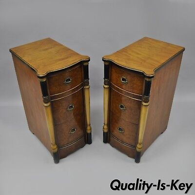 Pair of Antique French Art Deco Nightstands Bedside Tables Deep Chests Burl Wood