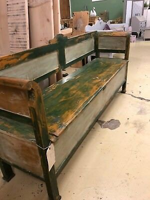 Original Painted Bench/Settle With Storage Vintage
