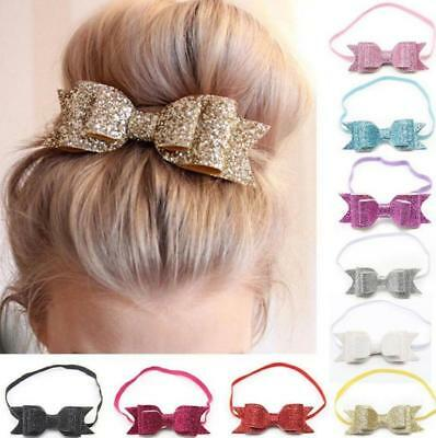 10 PC Baby Girls Glitter Big Bow Knot Elastic Hair Band Headwear Headband Pretty