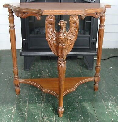 Antique OW Richardson Chicago Windsor Hand Carved Eagle Wood Half Wall Table