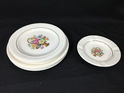 Set of 7 Basket PP Victory by Salem China Bread Butter & Salad Plates & Ashtray
