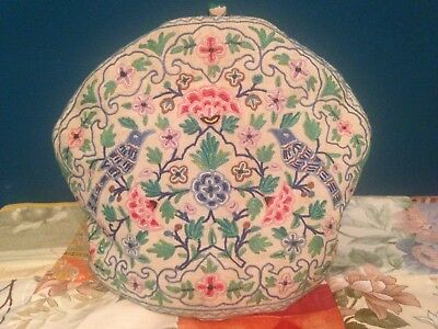 Antique Hand Embroidered Arts And Crafts Tea Cosy – Beautiful Birds And Flowers