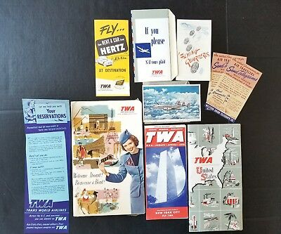 LOT OF VINTAGE 1950's TWA FLIGHT MEMOROBALIA