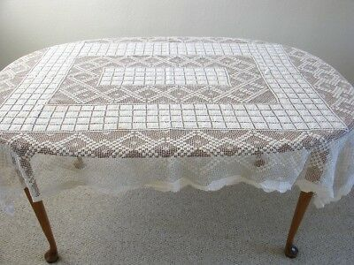 66 x 54 Antique Handmade Filet Lace Tablecloth – Cream Colored, Vintage - AS IS