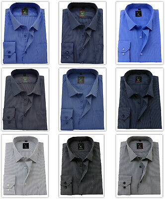 Men's Shirt Regular Fit Striped Cotton Classic collar Formal Casual Long sleeve