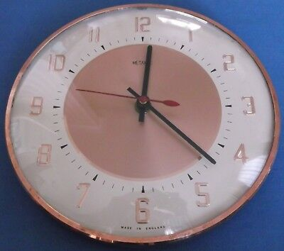 VINTAGE RETRO 1960s 70s METAMEC COPPER WALL CLOCK KITCHEN WORKING