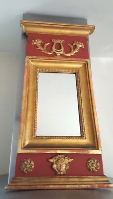 Antique mirror, neoclassical style, gold red painted trumeau mirror, pier glass