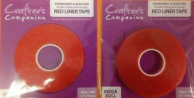Crafter's Companion 3mm or 6mm Double Sided Extra Strong Red Liner Tape 14m Roll