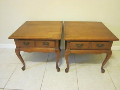 Colonial Maple End Tables Solid Wood One Drawer By Sprague S Carleton Pair