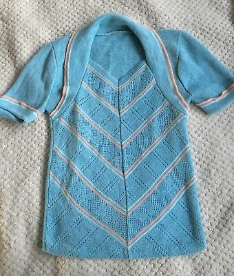 Adorable True Vintage Late 60s Turquoise Spring Sweater Small