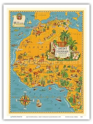 Map of North Africa - French Union - Lucien Boucher 1939 Vintage Map Print