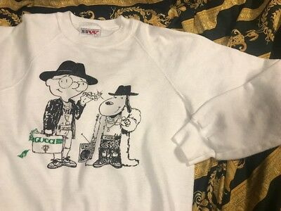 REAL Original 80's First Print Snoopy Gucci Boot Sweatshirt MEdium Run DMC Vtg