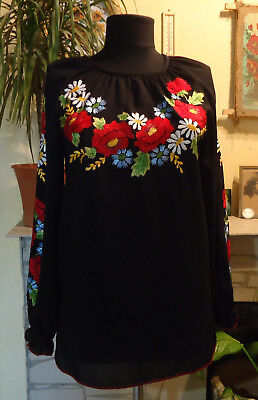 Hand Embroidered Women's blouse,Ukrainian Style,size M. Handmade