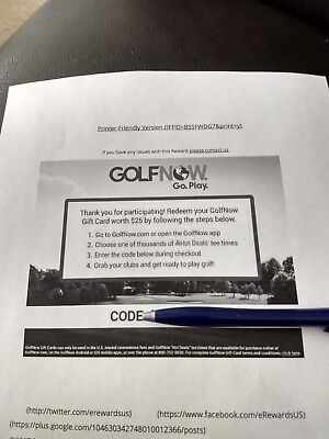 $25 GolfNow Gift Card (Paper)