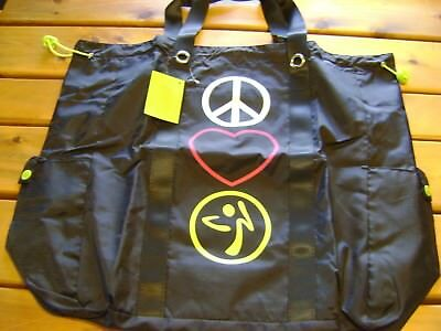Zumba Totes Awesome Bag  Black with Peace Love Zumba emblems  New with tags RARE