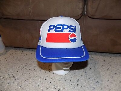 Vintage Pepsi White Red White Blue Stripes Truckers Mesh Snapback Baseball Cap