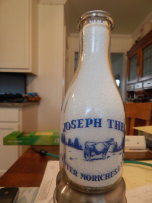 Joseph Thee Center Moriches Li Ny Milk Bottle Blue Pyro Quart Store New York