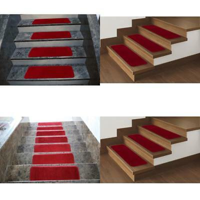 Set Of 14 Pieces Red Soft Stair Tread Non Slip Rubber Backing Carpet Mats 9