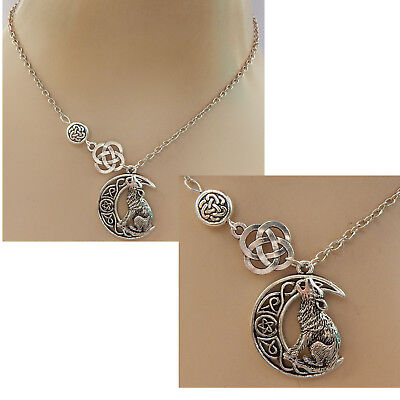 Celtic Moon Wolf Pendant Necklace Silver Jewelry Handmade NEW Adjustable Fashion