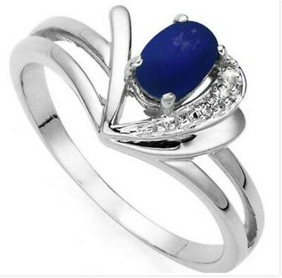 10K Solid White Gold Diamonds and 0.6 CTW Sapphire Womens Ring
