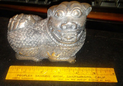 Rare Antique 900 Silver Silver KylinFoo Dog Betel Nut/Tea Caddy Box