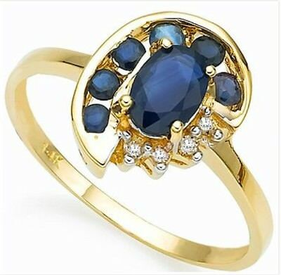 14K Solid Yellow Gold 1.20 CTW Sapphire and Diamond Womens Ring