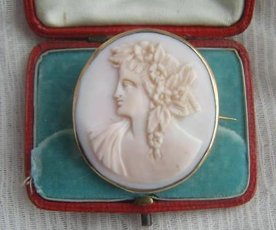 Antique Victorian Hand Carved Classical Pink Shell Cameo Brooch c1900
