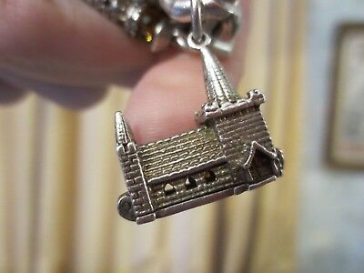 Antique Silver Charm Victorian Church Service Heavy Large Opens