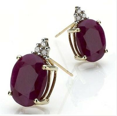 Solid 14K Yellow Gold Diamonds and 3.36 CTW Ruby Womens Earrings