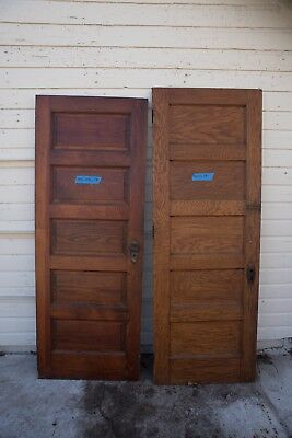 LOT 2 TWO Antique Vintage 5 Panel Solid Wood Interior Doors 1910s 1900s  Hardware