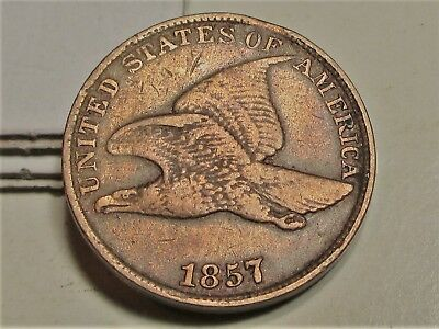1857 FLYING EAGLE PENNY CENT 1c **VF** US COINS.