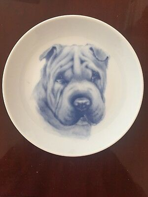 Shar pei dog blue porcelain plate